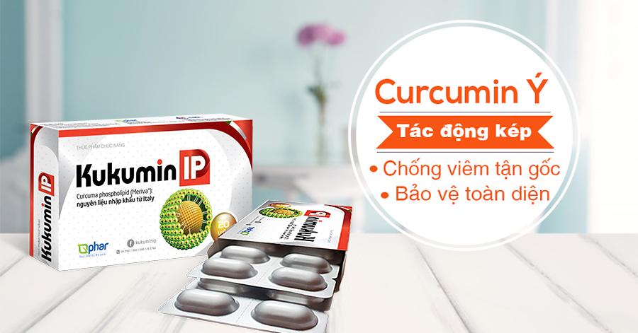 Kukumin IP, Curcumin Ý tác động kép, chống viêm tận gốc và bảo vệ toàn diện với viêm loét dạ dày, trào ngược dạ dày