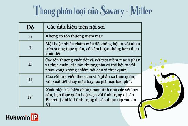 Trào ngược dạ dày được chia làm 5 mức theo thang phân loại Savary - Miller